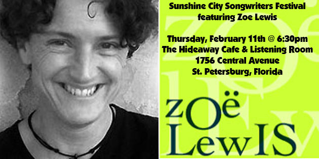Thursday, February 11 … Zoe Lewis Comes to St Pete via P-town for Sunshine City Songwriters Festival
