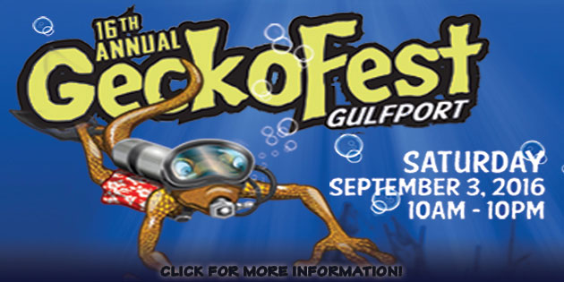 Saturday, September 3 … Celebrate the Gecko with the People of Gulfport