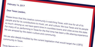 Open Letter to Texas Leaders: The Creative Community is Watching You