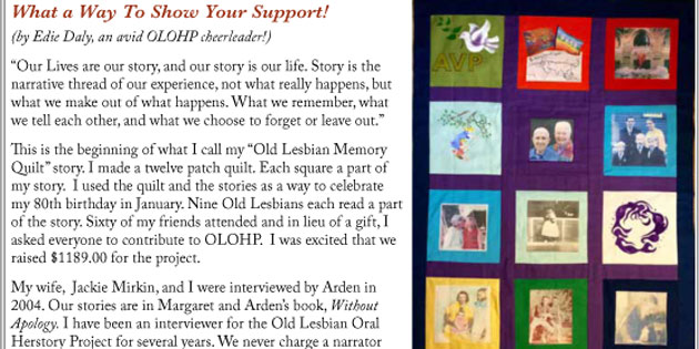 Edie Daly Shares How She Has Supported OLOHP – The Old Lesbians Oral History Project